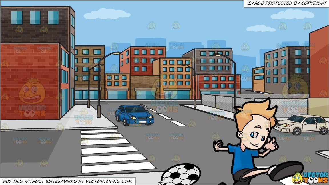 clipart #cartoon A Boy Kicking A Soccer Ball and An Urban.
