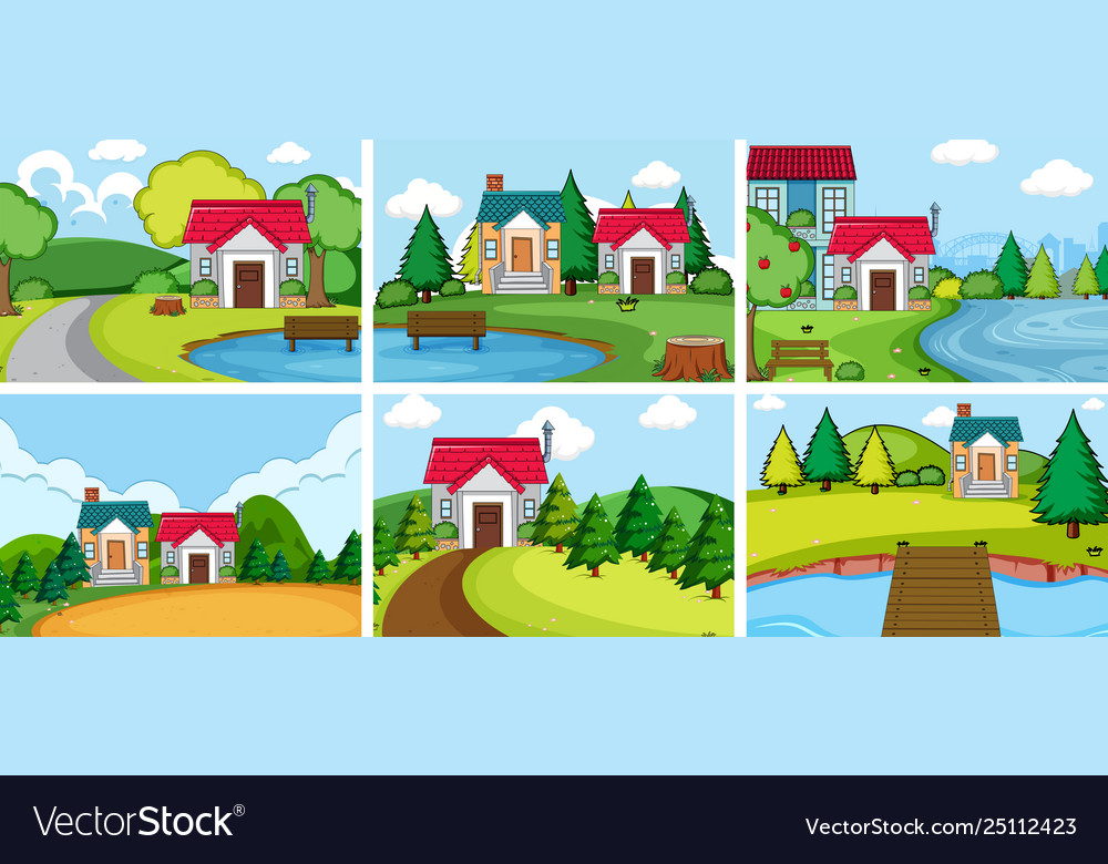 Set rural village house.