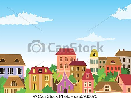 Clipart Vector of cartoon urban scene csp5968675.