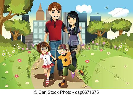 Clipart Vector of Family in the park.