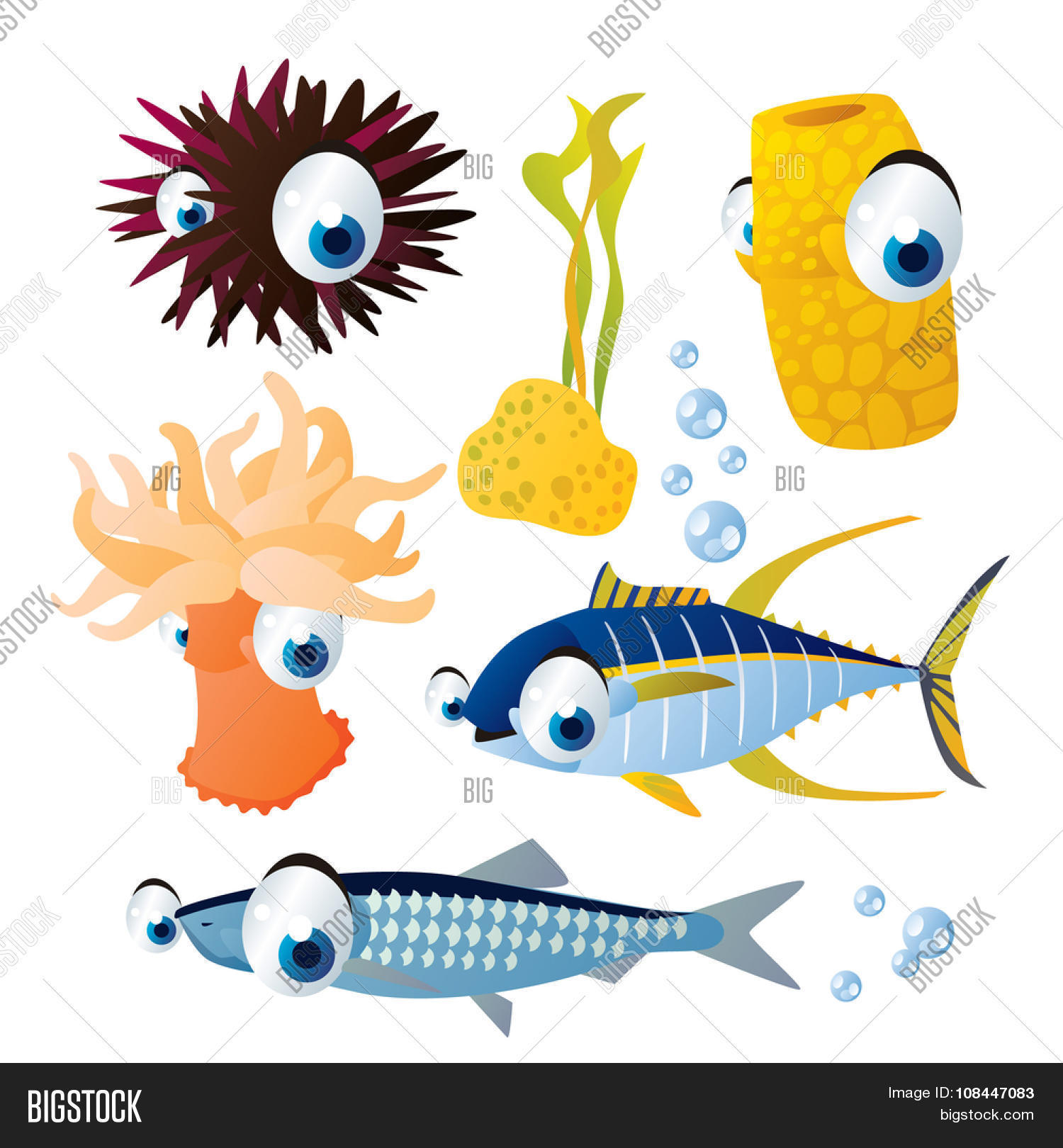 cute vector comic cartoon fish set: collection of sea life animals.