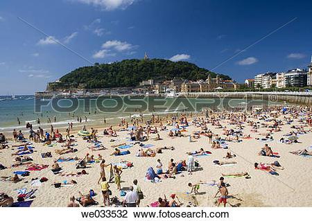 Stock Photo of La Concha beach and Monte Urgull in background, San.