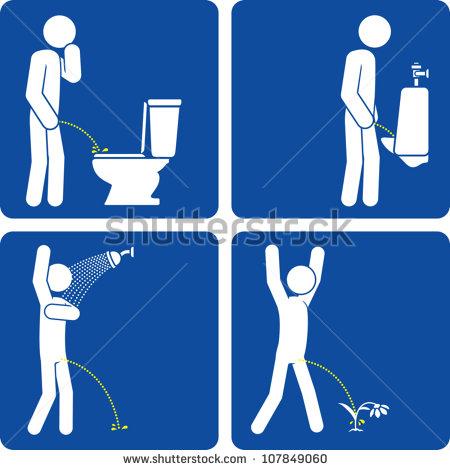 Clipart man using a urinal.