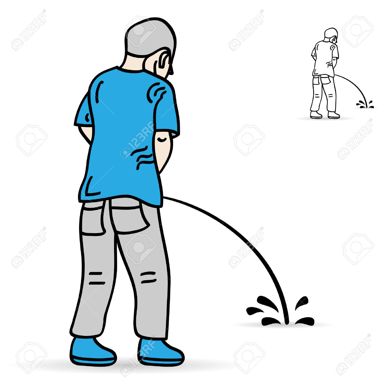 Man urinating clipart.