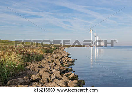 Stock Photography of Wind turbines along Dutch coast near Urk.