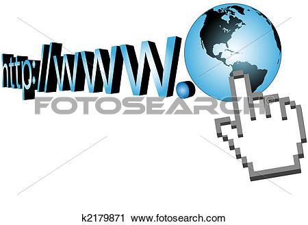 Clipart of Cursor click on world wide web 3D URL k2179871.