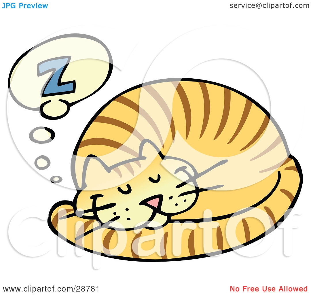 Cat Curled Up Clipart.