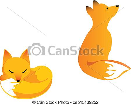Clipart Vector of Young fox.
