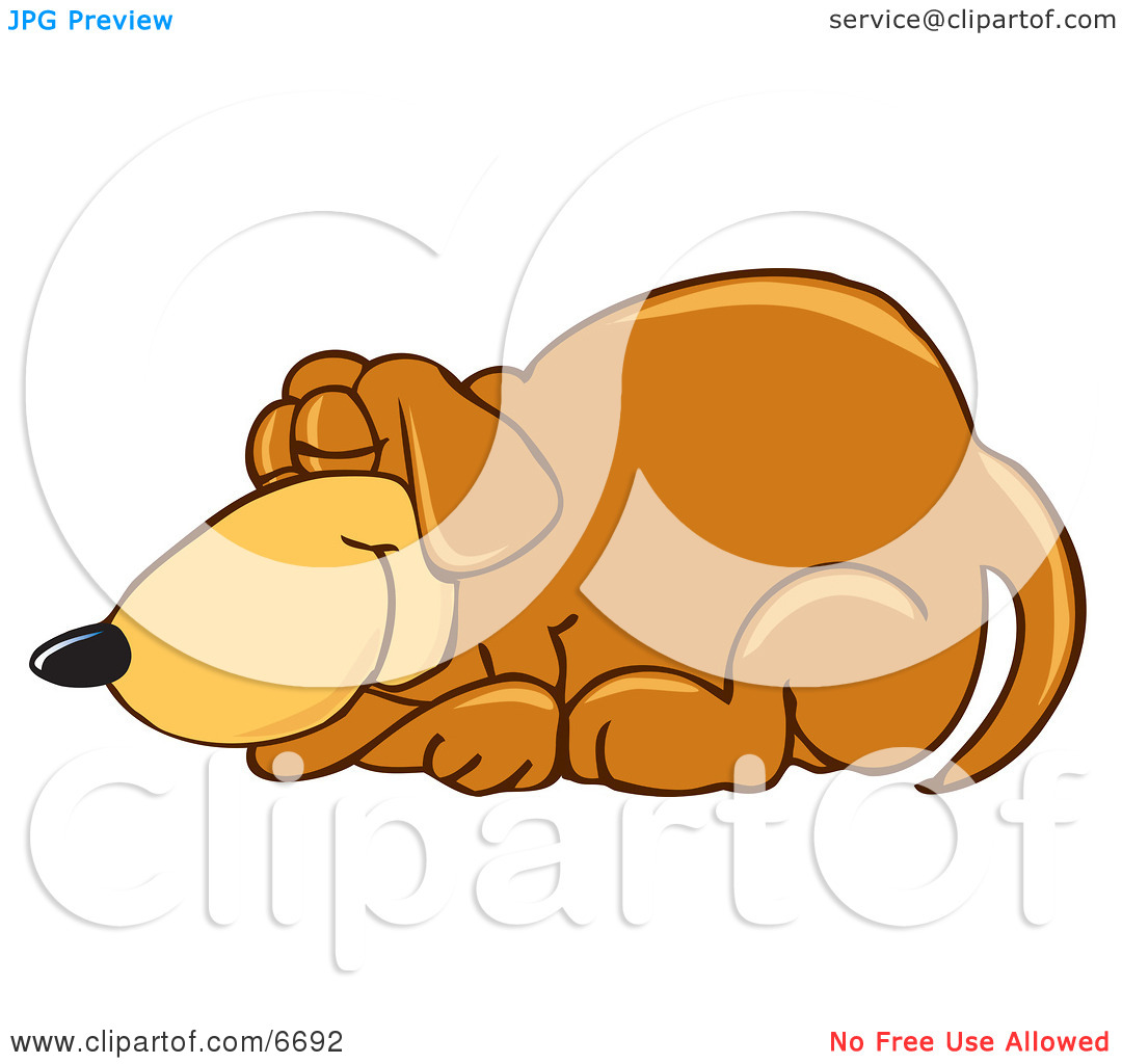 Brown Dog Mascot Cartoon Character Curled up and Sleeping Clipart.