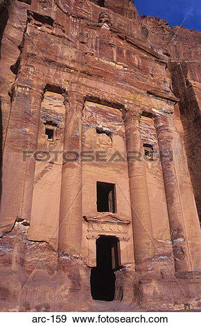 Stock Photograph of The Urn Tomb Facade Petra Jordan arc.