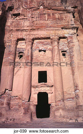 Stock Photograph of Entrance to the Urn Tomb Petra Jordan jor.