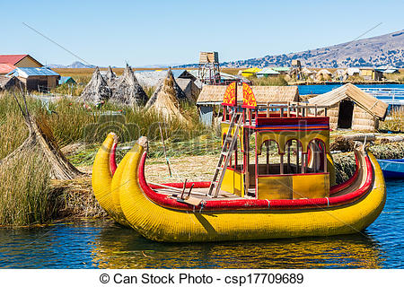 Pictures of Uros floating Islands peruvian Andes Puno Peru.