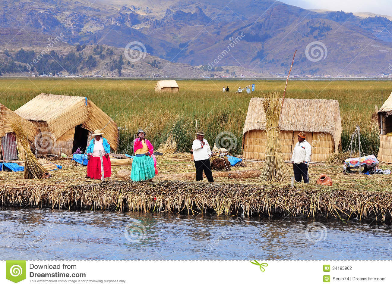 Indians On Uros Island. Editorial Photography.