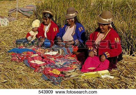 Stock Photograph of Uros women in traditional clothing doing.