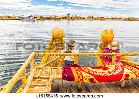 Stock Image of Traditional reed boat lake Titicaca,Peru,Puno,Uros.