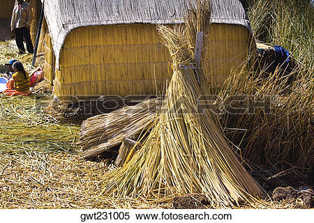 Stock Image of Hut in a village, Uros Floating Islands, Puno, Peru.