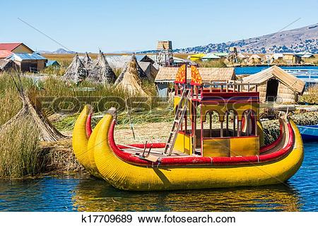 Stock Photograph of Uros floating Islands peruvian Andes Puno Peru.