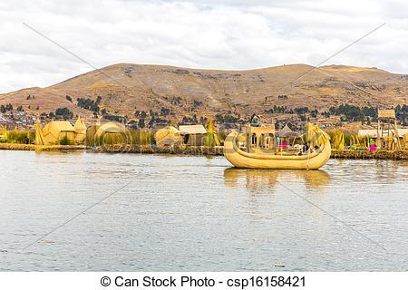 Stock Photo of Traditional reed boat lake Titicaca,Peru,Puno,Uros.