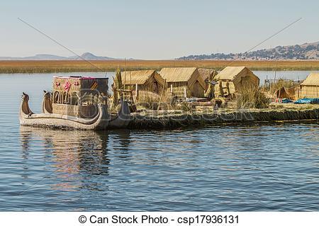 Stock Photos of Floating Island Uros, Lake Titicaca, Peru, Bolivia.