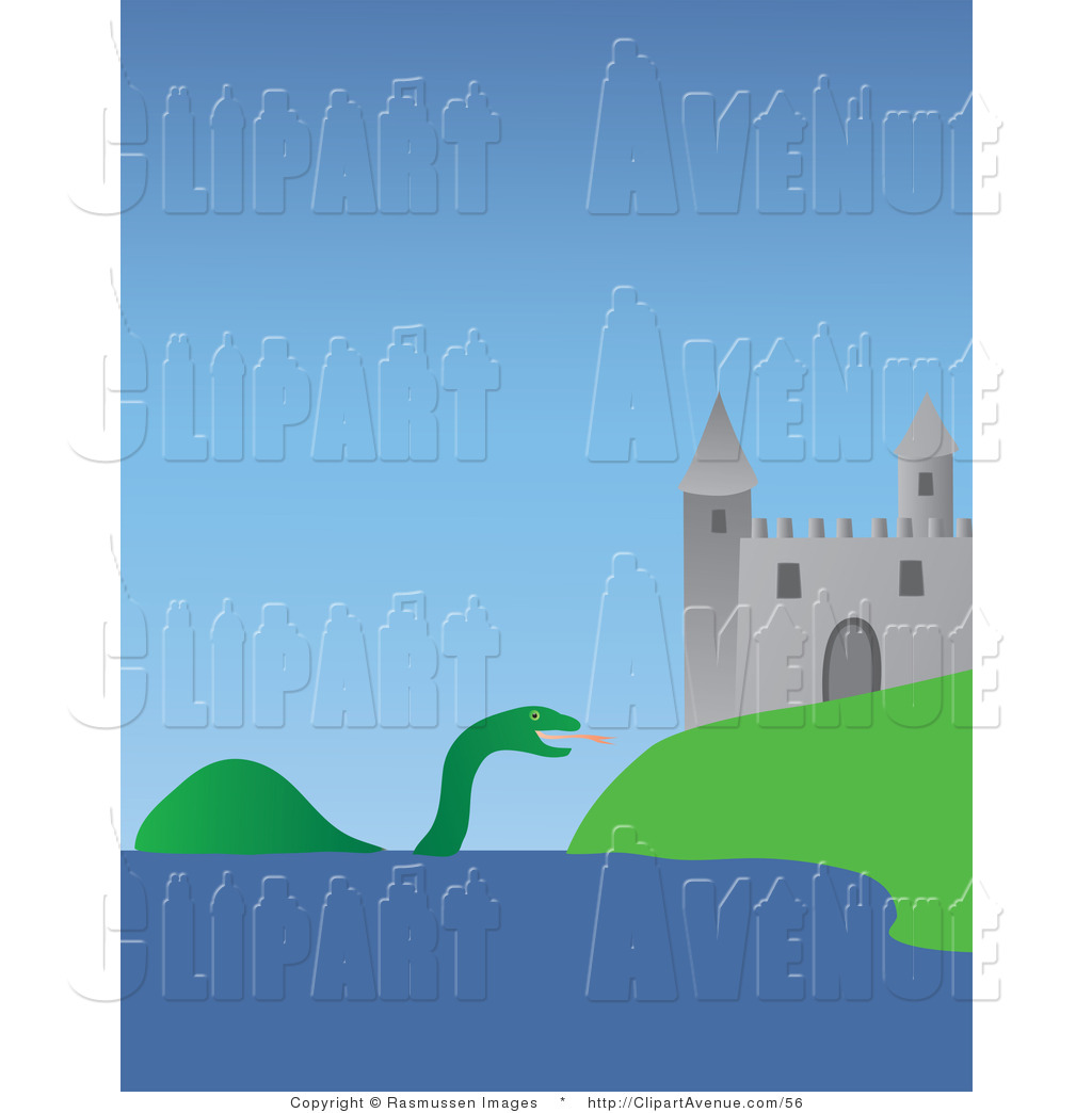 Avenue Clipart of Nessie the Loch Ness Monster near the Urquhart.
