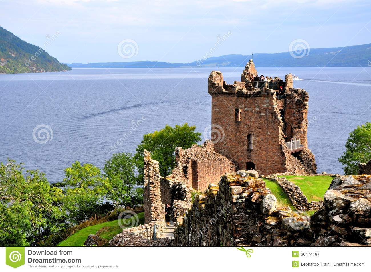 Loch Ness, Urquhart Castle Royalty Free Stock Photography.