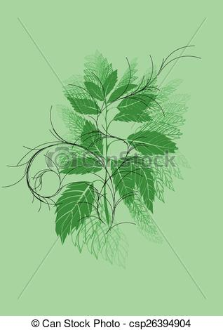 Vector Clipart of urtica. abstract herb isolated on green.