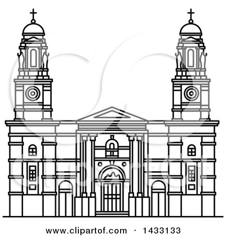 Clipart of a Black and White Line Drawing Styled Uruguay Landmark.