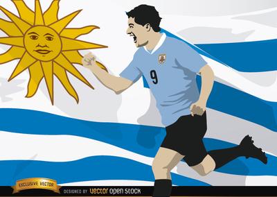 Luis Suarez with Uruguay flag, Vector Image.
