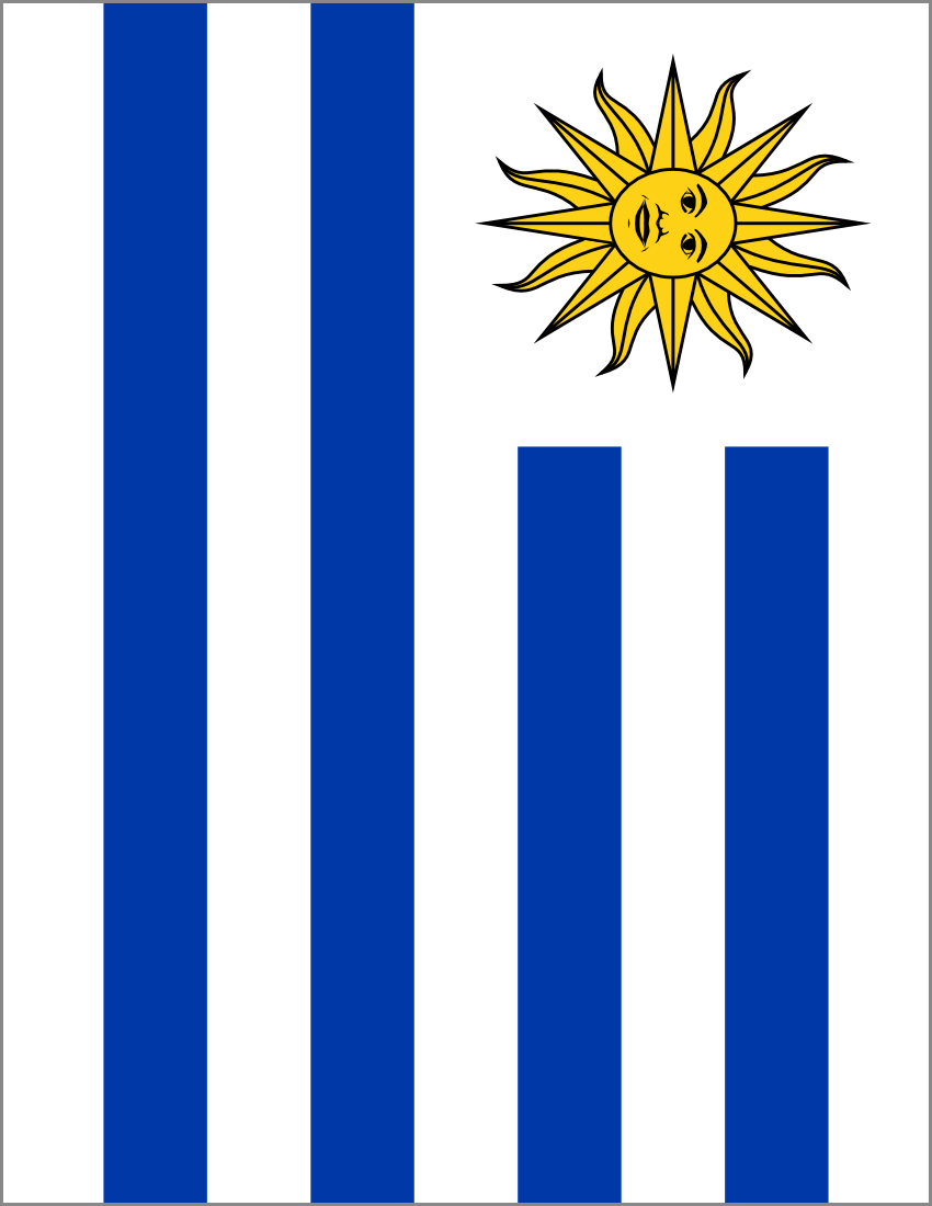 Uruguay Flag Full Page Clip Art Download.