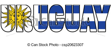 Vector Clipart of Uruguay typography with flag csp20623307.