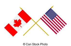 Flags of usa and canada isolated on white. 3d illustration..