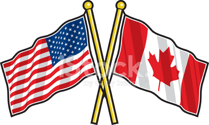 American and Canadian Friendship Flag Stock Vector.