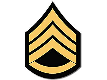 American Vinyl US Army Rank SSG Staff Sergeant Chevron Shaped Sticker (ssi  united states military).