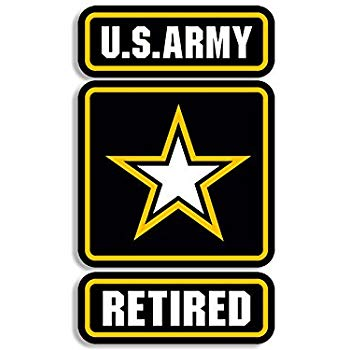 American Vinyl US Army Star Logo w/Retired Sticker (Military Soldier Vet  Insignia Seal).