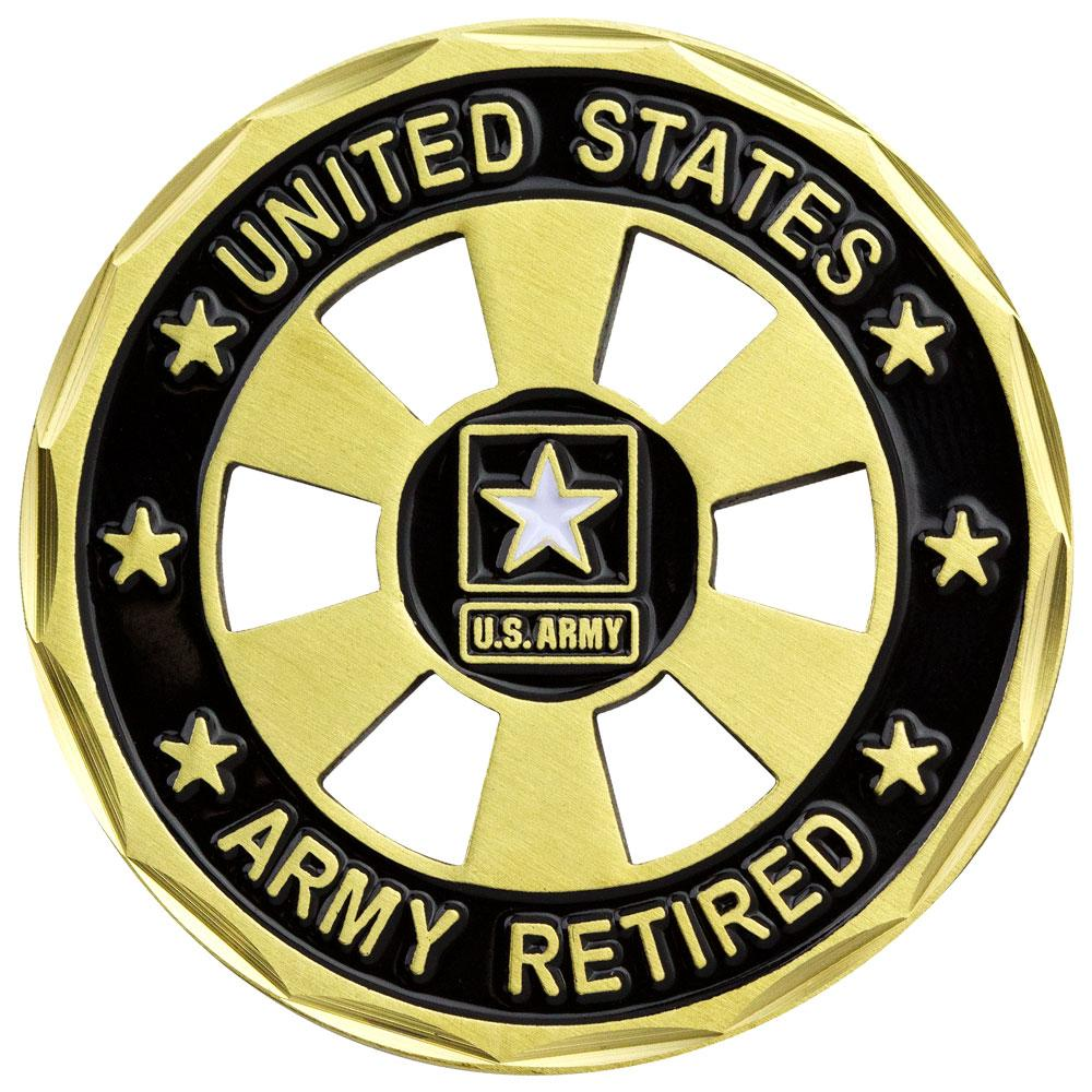 U.S. Army Retired Wheel Cut Out Coin.