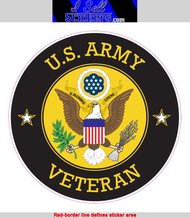 Army Veteran Circle Bumper Sticker Vinyl Window Decal.