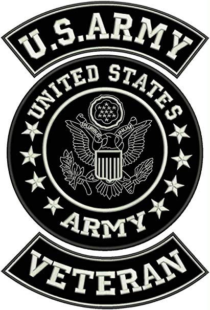 US Army Veteran Patches Set for veterans Bikers Motorcycle Jacket or Vest.