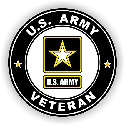 Military Vet Shop US Army Veteran Window Bumper Sticker Decal 3.8\