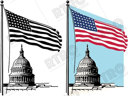 A graphic of the American Capitol Building with the American.
