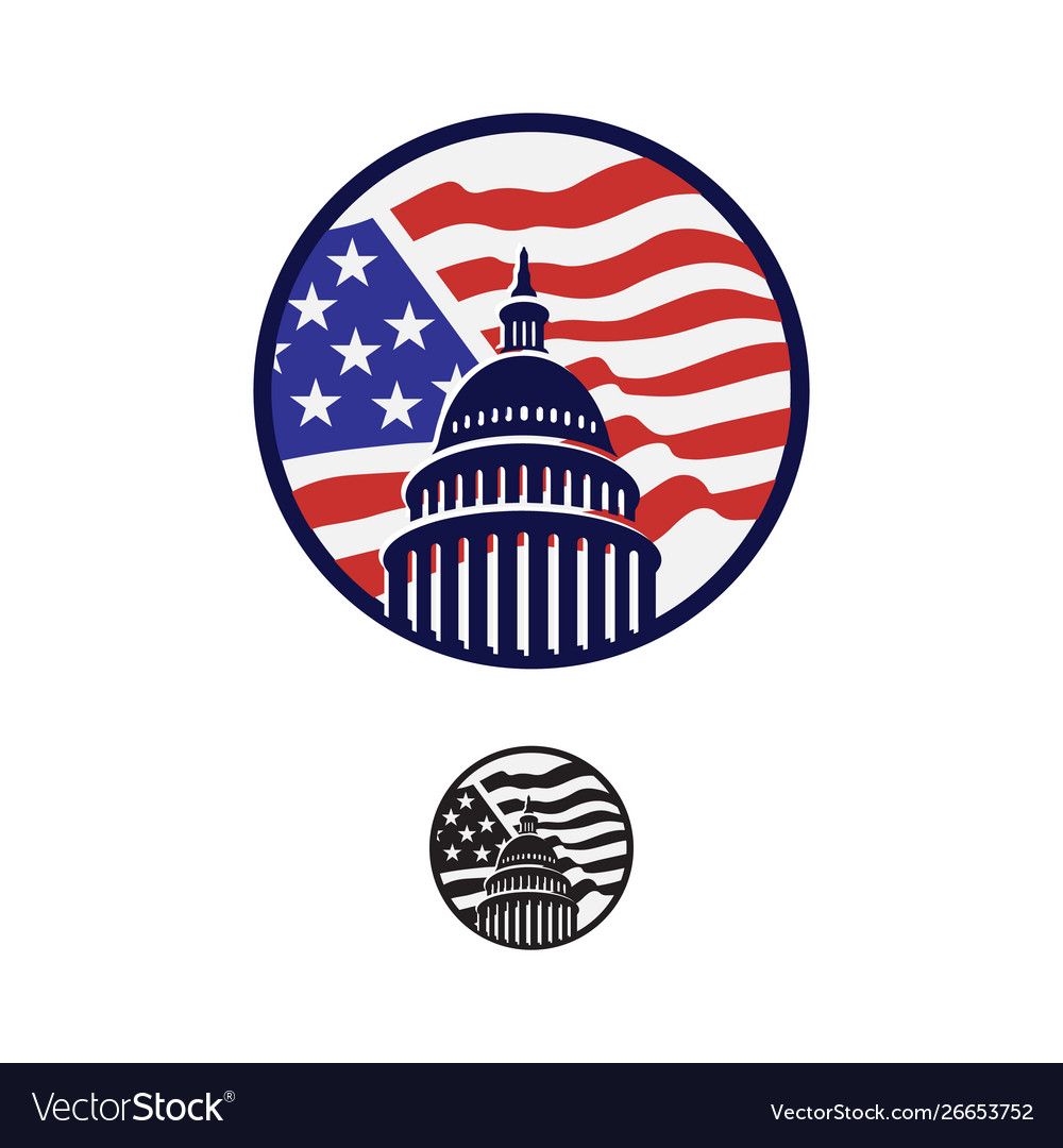Creative simple american capitol building logo.