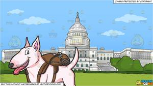 A Tiny Dog With A Backpack and The Us Capitol Building Background.