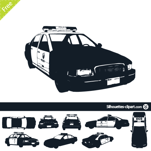 US police car vector silhouettes.