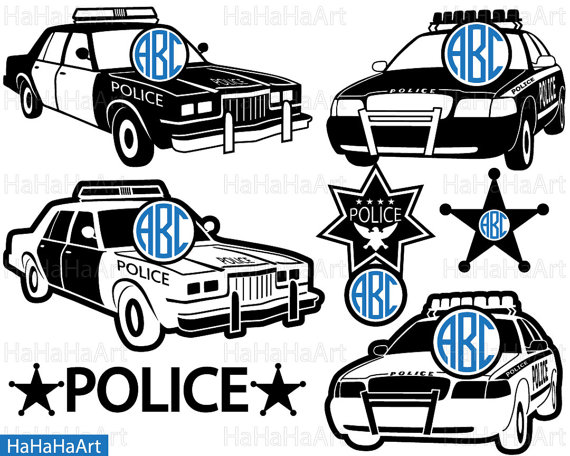 Circle US Police Car Clipart / Cutting Files Svg Pdf by HaHaHaArt.