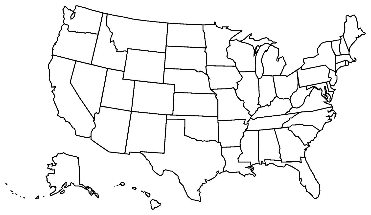 Free Us Map Black And White Outline, Download Free Clip Art.