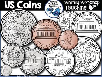 Coins US Money Clip Art.