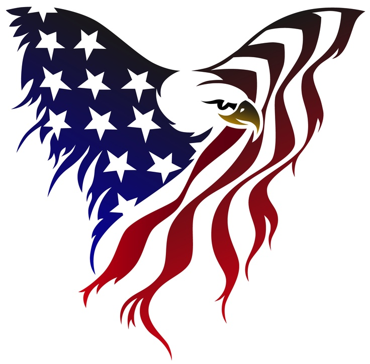 American Flag With Eagle Clipart.