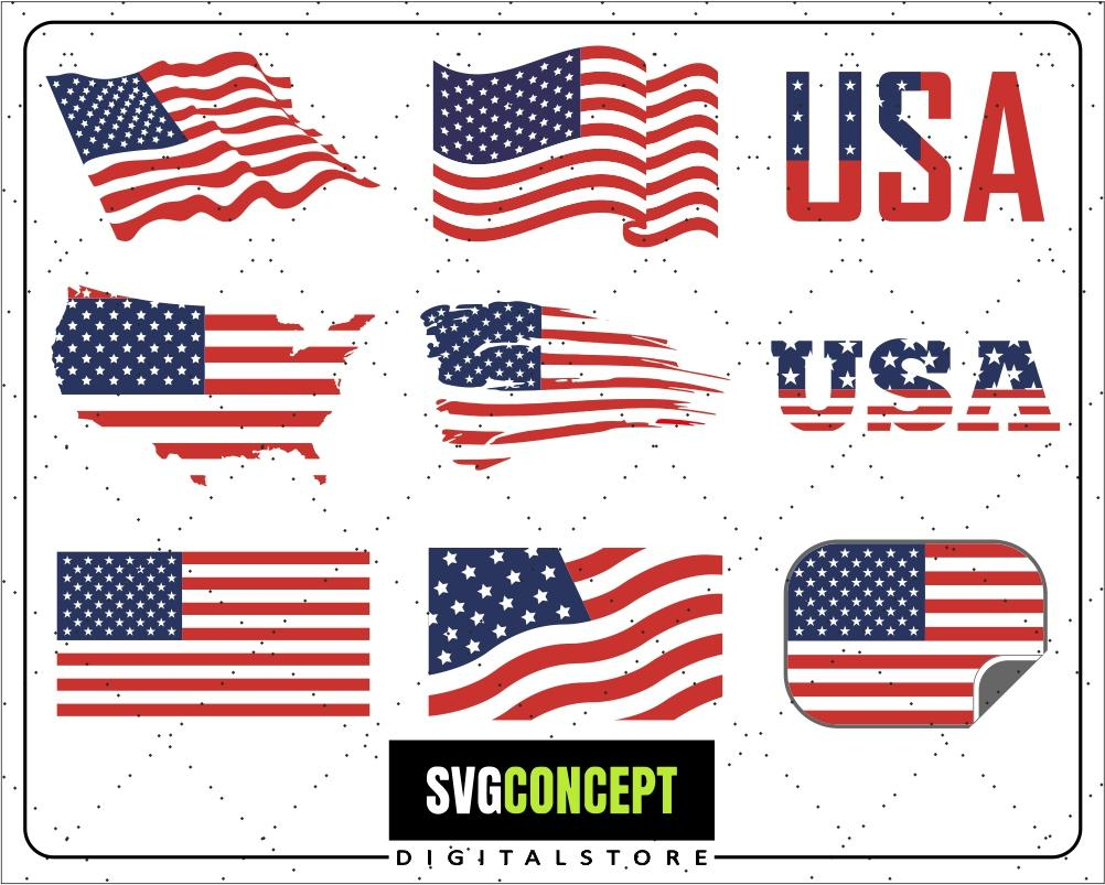 US Flag Svg / American Flag Svg / USA Flags Svg / US Flags Bundle / Usa  Flag Clipart.