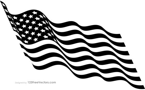 Black and White Waving American Flag.