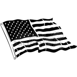 Black and white United States flag clipart. Royalty.
