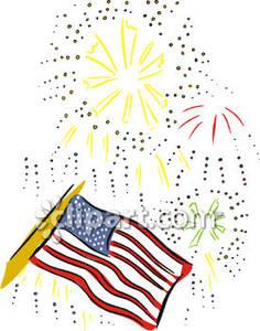 Fireworks Behind the American Flag.